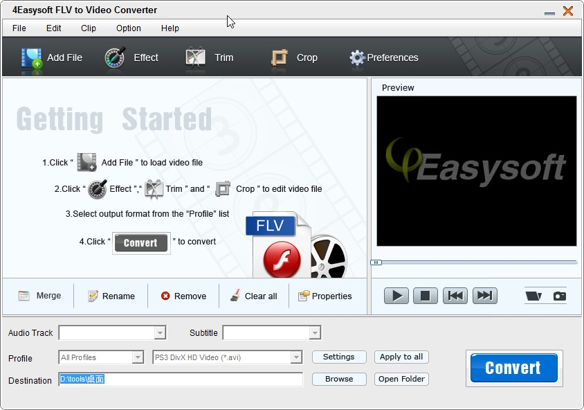 4Easysoft FLV to Video Converter剪切视频的方法