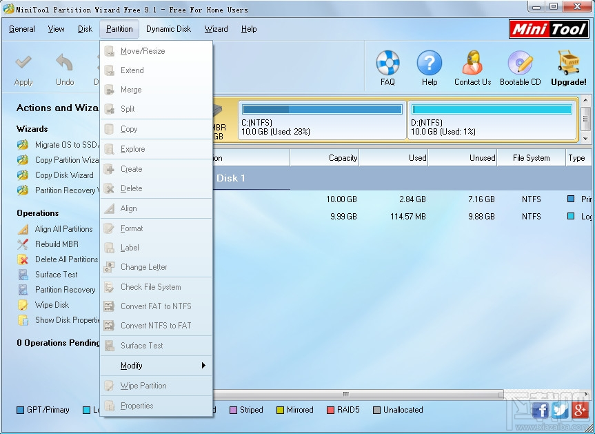 Partition Wizard Home EditionPartition Wizard Home Edition(支持64位Windows7免费分区调整软件)V9.1.0.0官方版 (2)